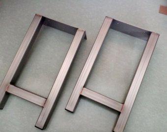 Trapezoid Steel Legs Model TTJ07 Dining Table Industrial Modern Set Of 2