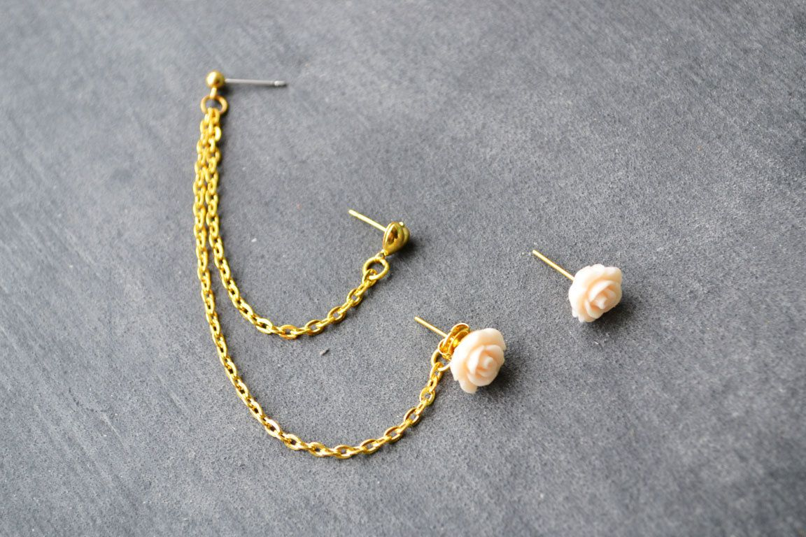 Pale+Pink+Rosette+and+Heart+Multiple+Pierce+Gold+by+oflovelythings,+$11.00