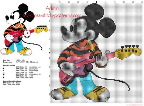 Mickey Mouse Disney joue de la guitare grille point de croix | Ponto cruz menino, Ponto cruz ...