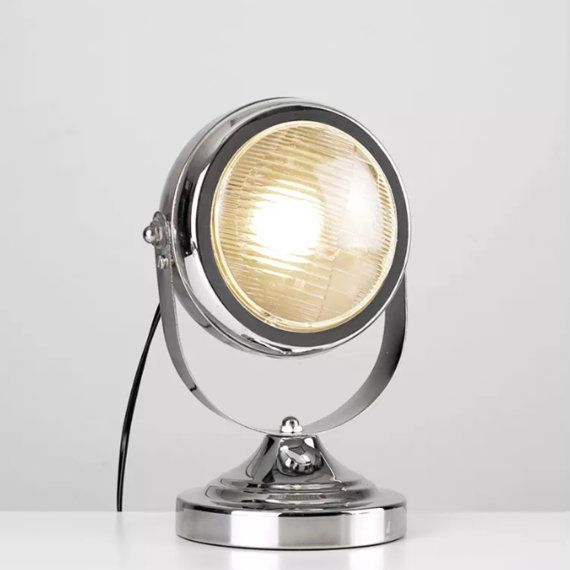 Modern Round Chrome Vintage Upcycled Style Car Headlight Table Desk Lamp Light Adjustable Table Lamps Steampunk Table Lamp Lamp