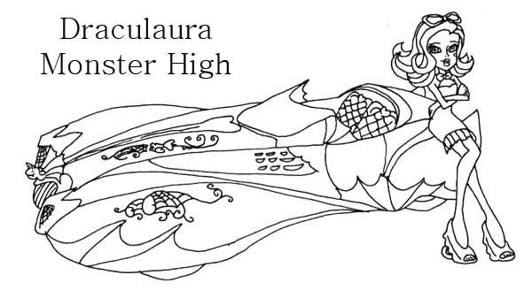Draculaura And Car Coloring Page Girls coloring Cars