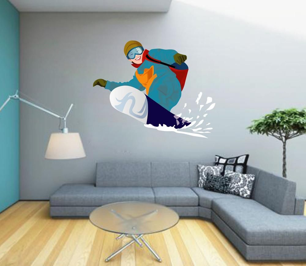 cik1417 full color wall decal girl snowboard snowboarder on wall stickers for hall id=79896