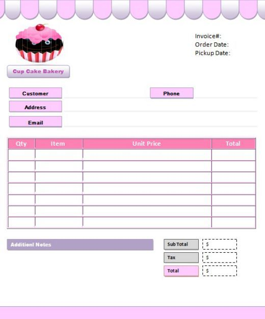 7 free cake invoice templates for bakery business