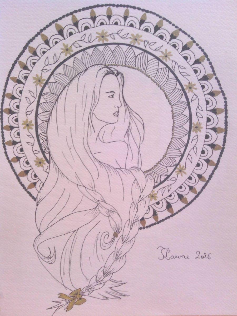 dessin de femme et lettre N