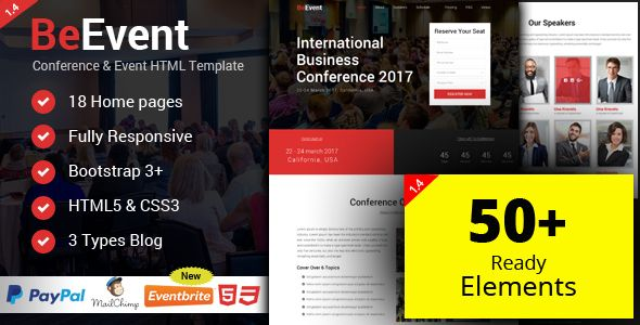 BeEvent - Conference & Event HTML Template | Event template ...