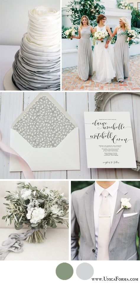 Grey wedding palette! Gray wedding palette! Grey and green. Neutral ...