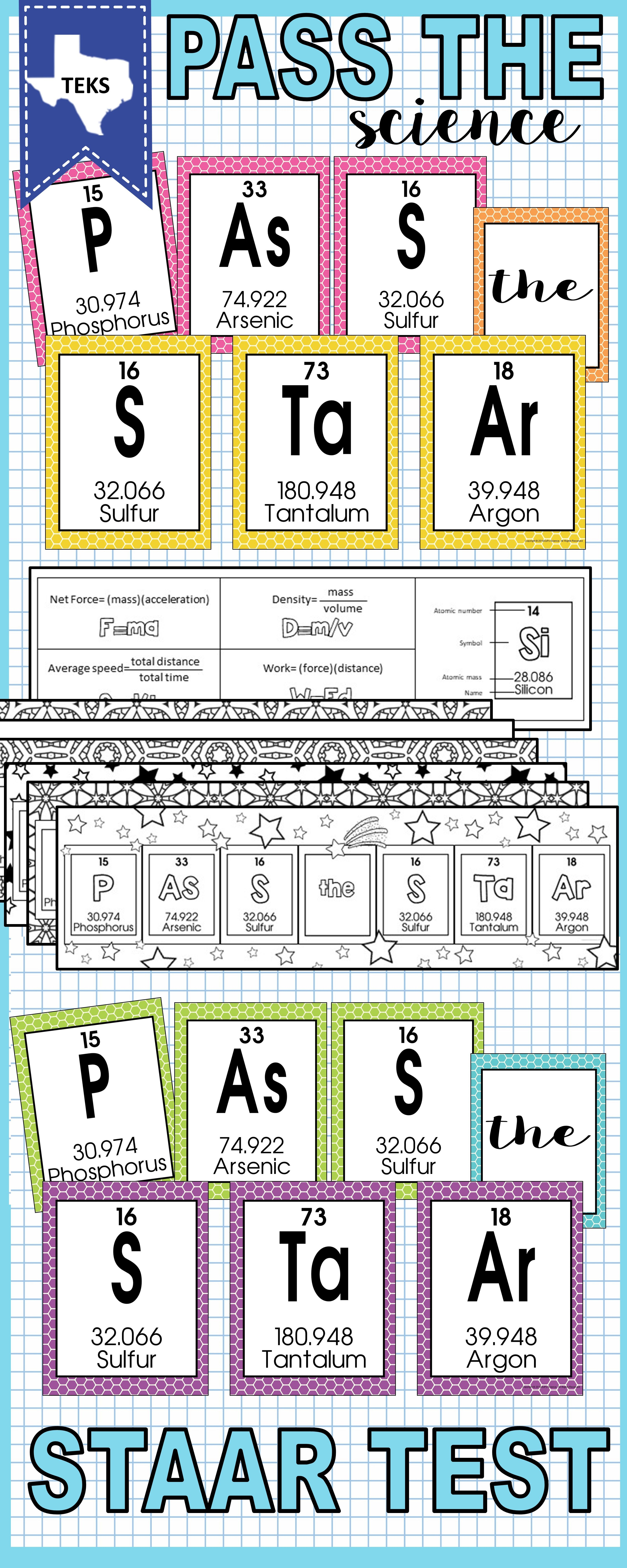 Periodic Table -Pass the STAAR Test Posters and Bookmarks
