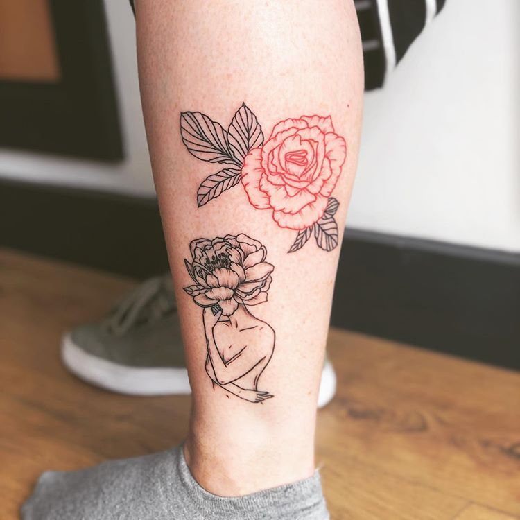 Little Flower Lady I Did Under The Red And Black Peony From Last Week Artist H J Tattoo Red Flower Tattoos Floral Skull Tattoos Flower Outline Tattoo