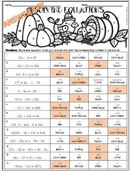 Thanksgiving Algebra Solving Equations Activity 3 Differentiated