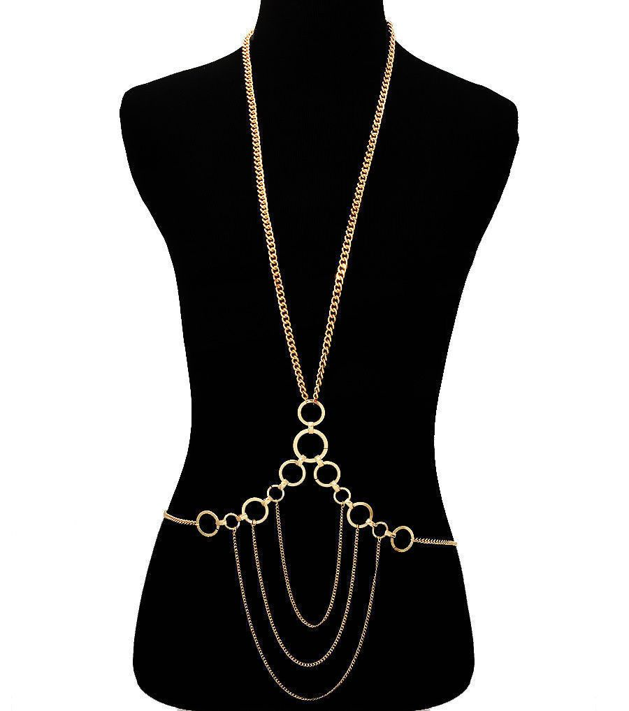 Egyptian-Style BOLD Gold Link Chain Circle Drape Body Chain