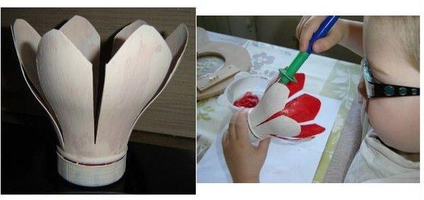 découper votre fleur dans une bouteille de lait | plastique