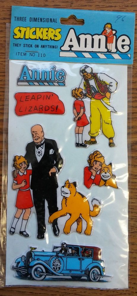 Vintage little orphan annie three dimensional stickers tribune company 1981