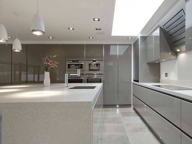 Best Handle Less Gloss Brown Grey Handleless Kitchen 640 x 480