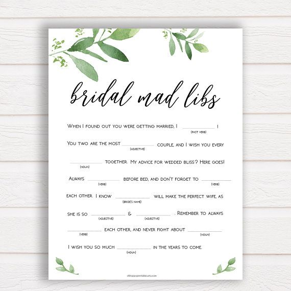 Bridal Shower Mad Libs Game, Greenery Bridal Shower Games