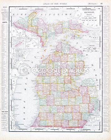 Vintage map of the state of Michigan, United States, 1900 ...