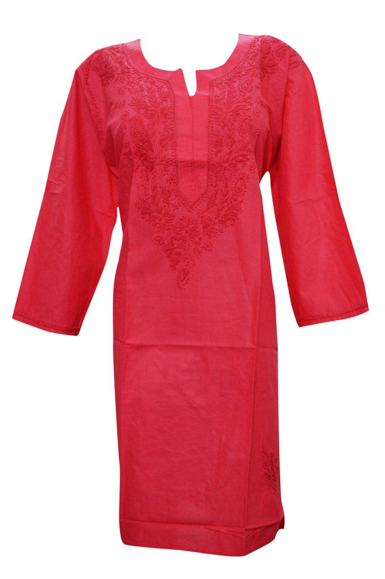 388622170fc Woman's Cotton Tunic Dress Floral Embroidered Long Kurti Xl at Amazon  Women's Clothing store: