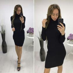 Платье лапша в высоким горлом, цвет черный 5055 https   privately.ru 61d65753eeb