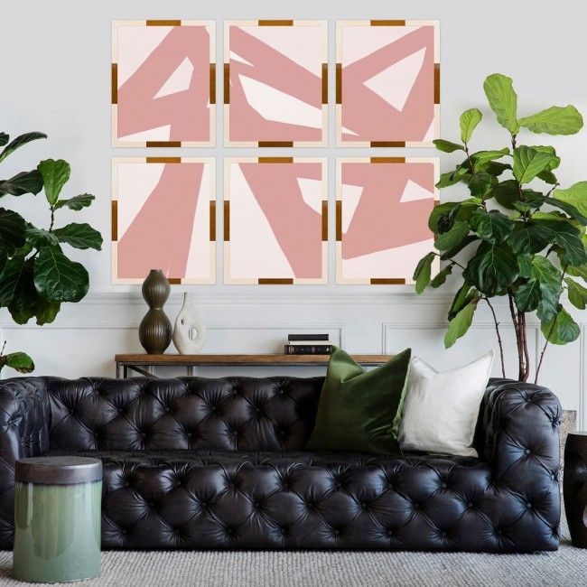 Black And White Wall Artideas: Metal Abstracts, Pink And White With Gold Accents