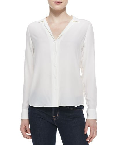 daafda315 Adalyn Silk Long-Sleeve Blouse | Products | Blouse, White silk ...