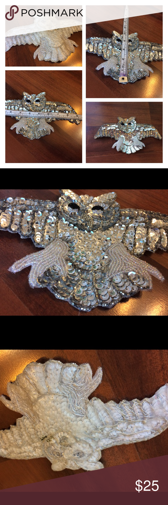 """Awesome Vintage Sequined Owl Sew On Patch 9.5""""x5"""" silver sequins & pearl colored beads!!!!! all beads in tact! So many cool things you can do with it! Vintage Accessories"""