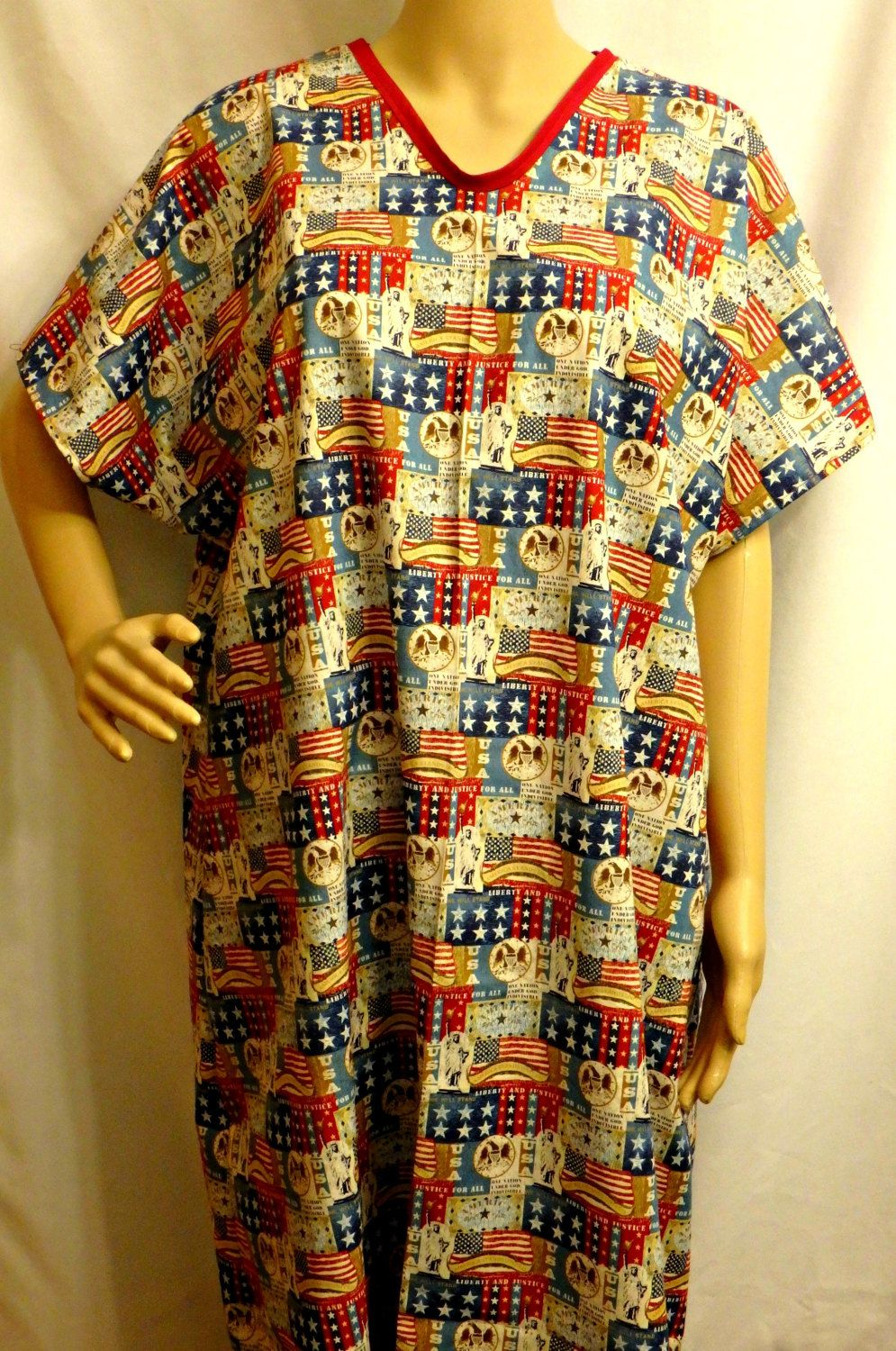 Cotton Hospital Gown IV for Bed bound Fits up to Plus Size PATRIOTIC ...
