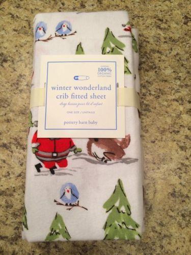 pottery barn kids winter wonderland crib sheet flannel new christmas