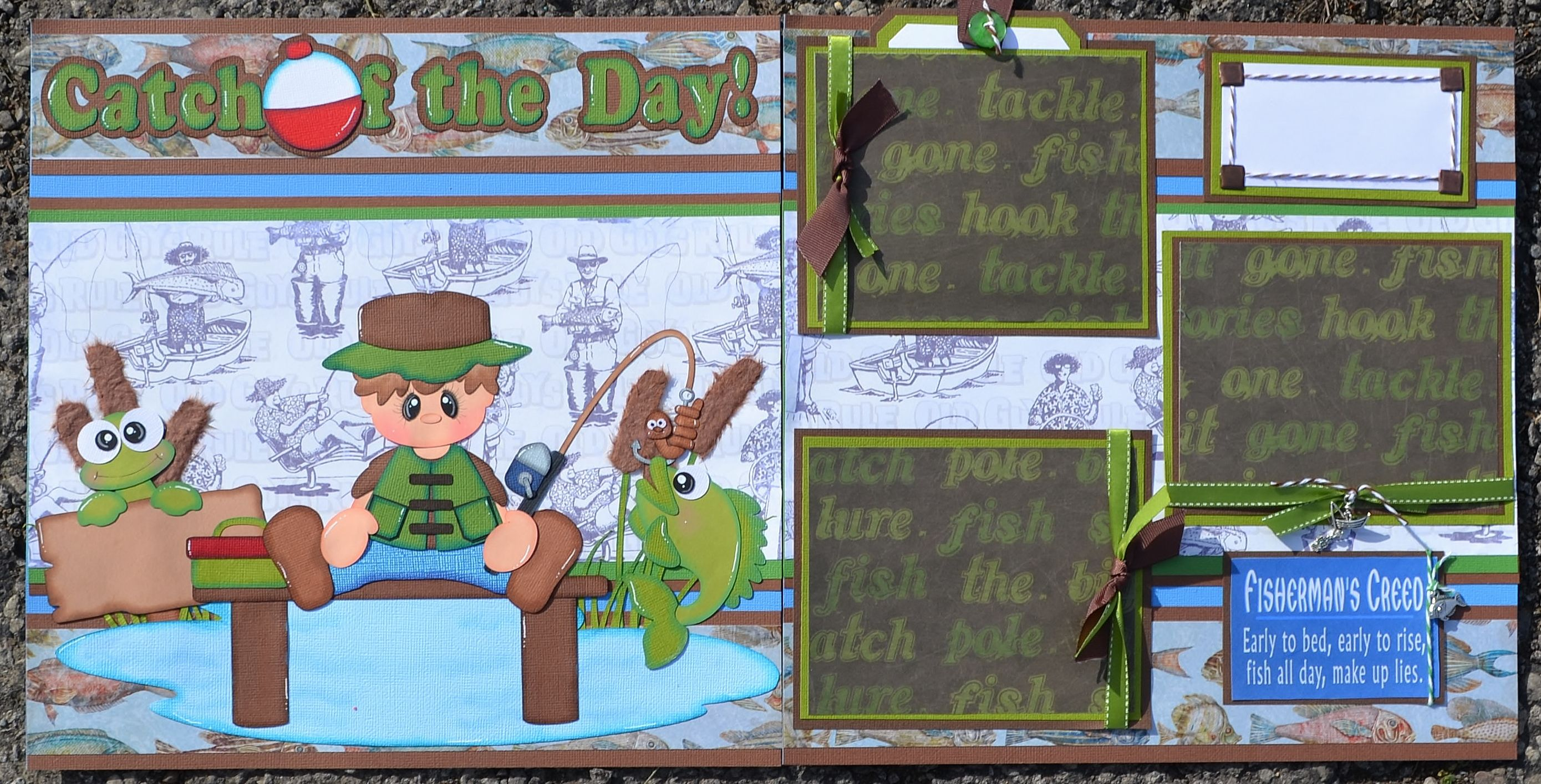 How to make scrapbook on facebook - Momz Premade Scrapbook Layout Catch Of The Day Fishing Boy Paper Piecings Crafts Scrapbooking Paper Crafts Pre Made Pages Pieces Ebay