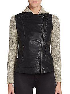 Knit Paneled Faux Leather Moto Jacket