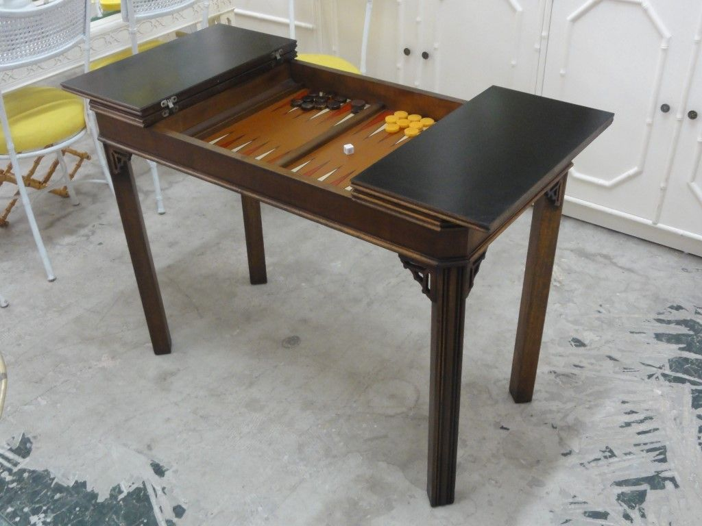 Vintage Fretwork Backgammon Table