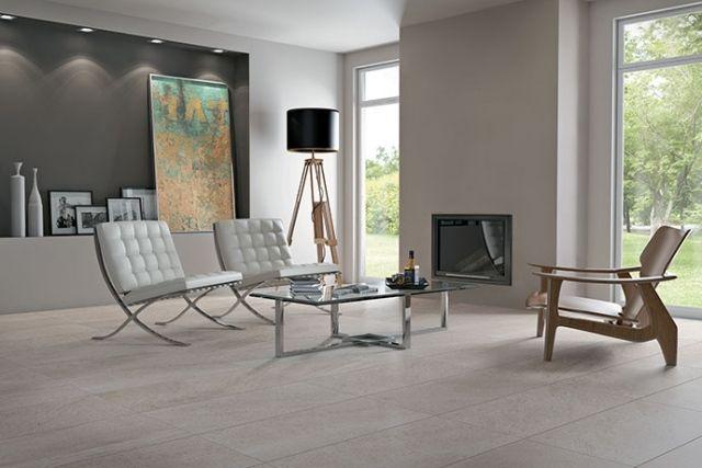 Carrelage en grès cérame moderne- 48 idées pour lu0027intérieur - moderne wohnzimmer mit fliesen