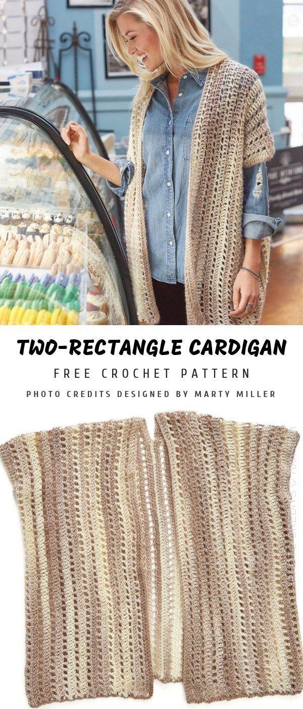 Two-Rectangle Cardigan Crochet Apparel