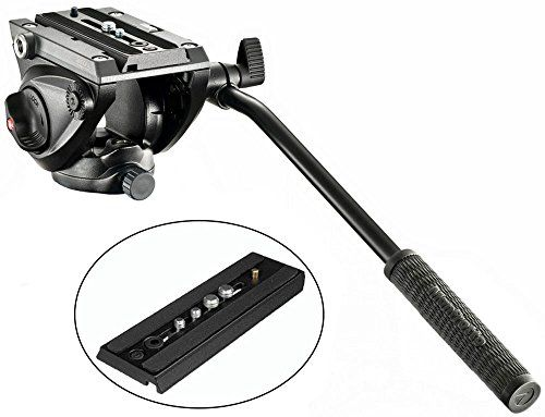 Manfrotto MVH500AH Pro Fluid Video Tripod Head with Flat Base and a Extra Ivation Sliding Plate w/ 1/4''-20