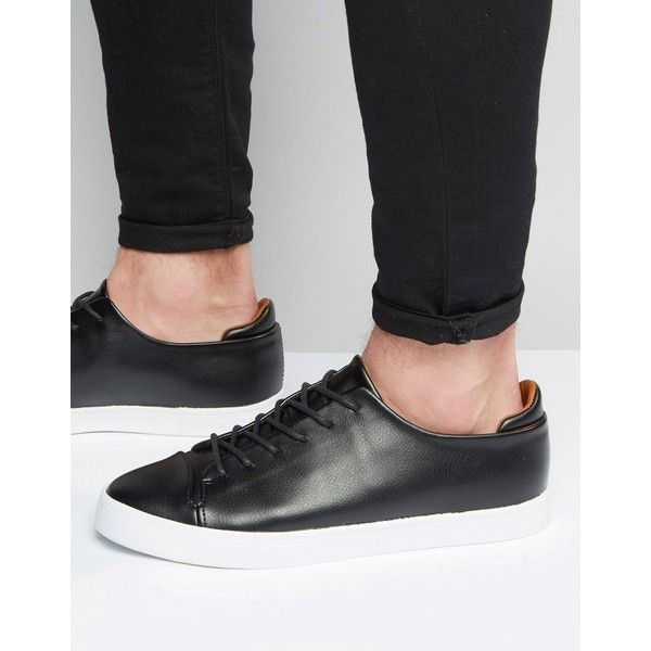 ASOS Lace Up Sneakers in Black With Toe Cap  ? liked on Polyvore