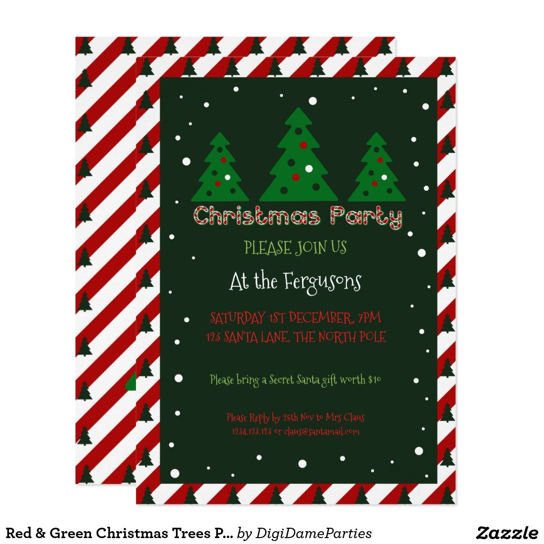 Red & Green Christmas Trees Party Invitation Template by The Digi Dame Parties on Zazzle www.zazzle.com/digidameparties*