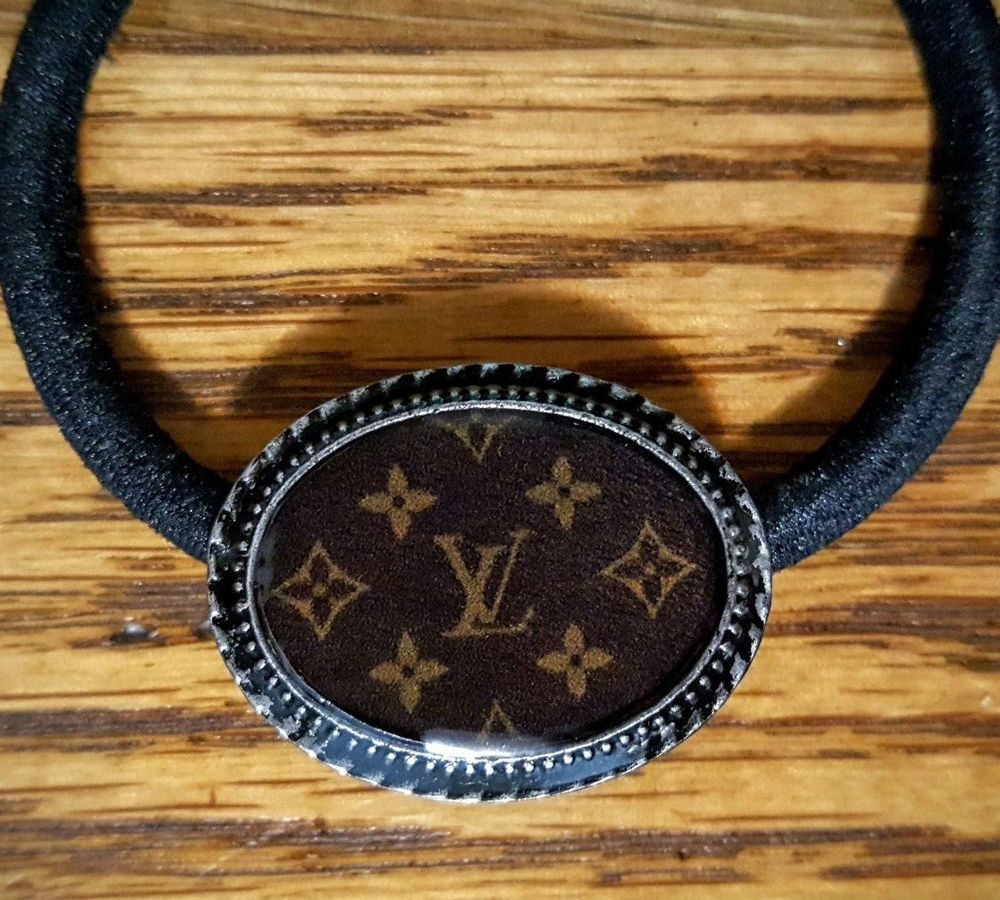 Handcrafted Louis Vuitton Button Thick Ponytail holder or Use as Bracelet   LouisVuitton  PonytailHolders  21938f66427