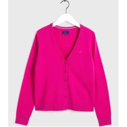 Photo of Gant Superfine Lambswool Cardigan (Pink) Gant