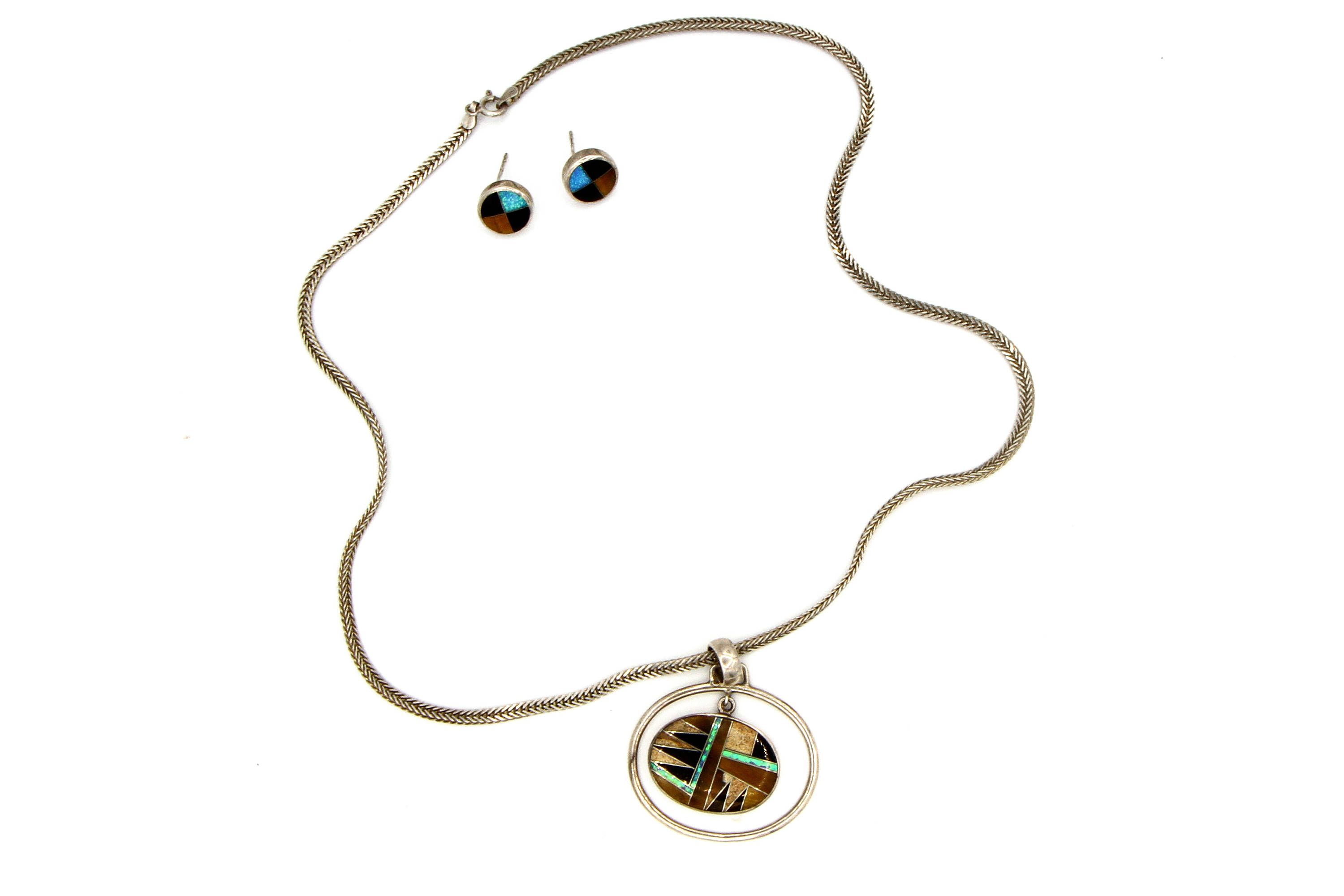 and pin genuine opal zuni handcrafted bear turquoise necklaces pendant stamped pendants sterling
