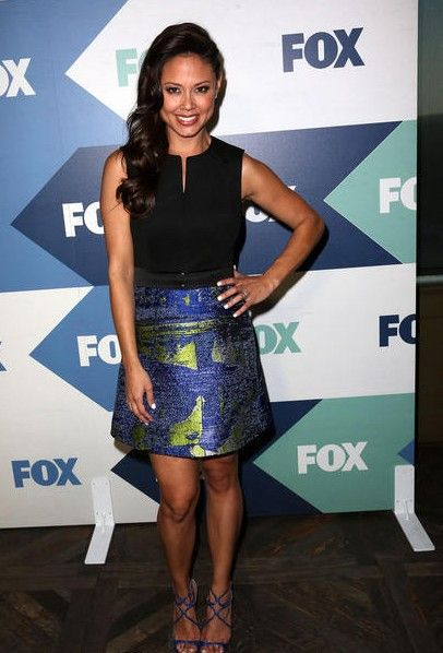 Vanessa Minnillo Lachey wearing  Jimmy Choo Lance Leather Sandals in Klein Blue  TCA Summer Tour: FOX All-Star Party August 1 2013