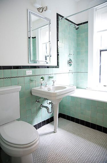 Crisis In The Commode Powder Room Edition Bathroom Diy Projects - Retro-green-bathroom-tile