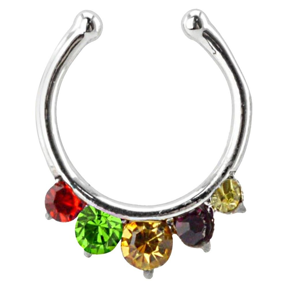 Women's Supreme Jewelry Fake Septum Nose Ring with Stones - Multicolor, Multi-Colored