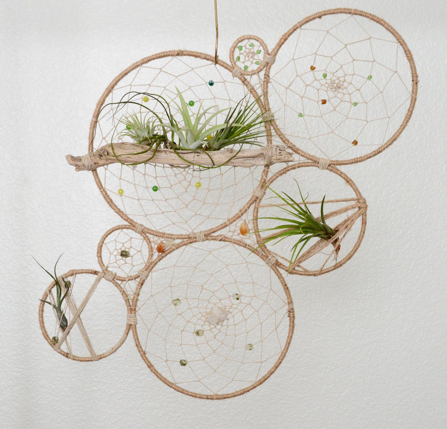 Round Air Plant Holder   Natural Tillandsia Dreamcatcher Wall Hanging    Modern Geometric Bohemian Wall Accent   Beach House Decor