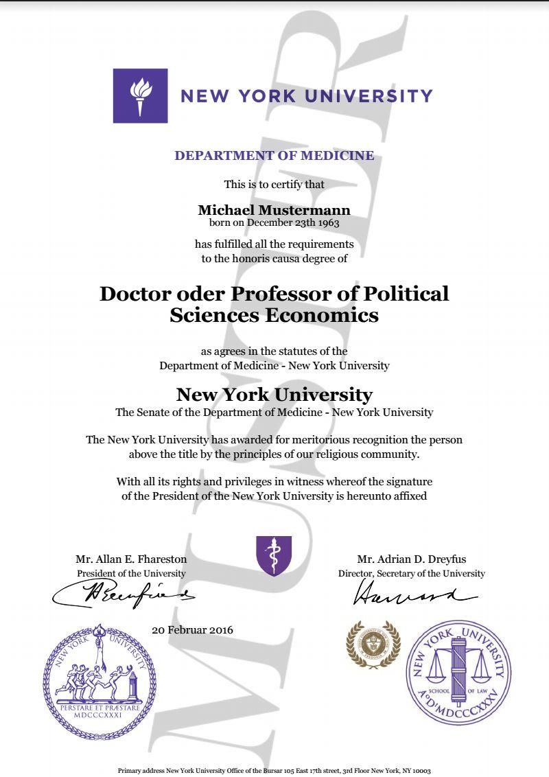 doktortitel kaufen new york university