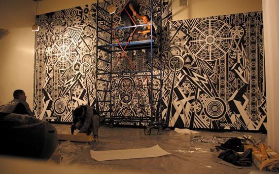 chambre avec vue wall murals by kenzo minami graphic designer via wwwinteriordesign2014com - Wall Graphic Designs