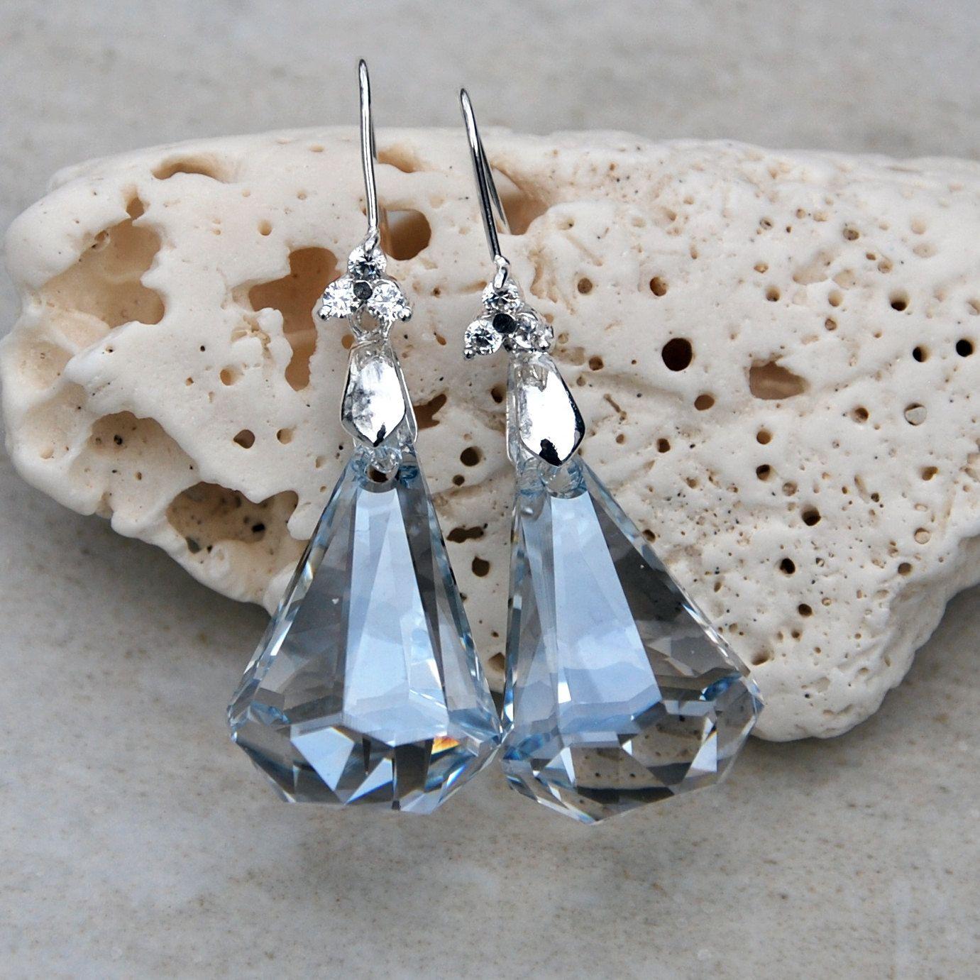 Swarovski Raindrop teardrop sterling earrings, silver swarovski earrings, pale blue earrings, wedding earrings, CZ cubic zirconia earrings by KarmaKittyJewelry on Etsy
