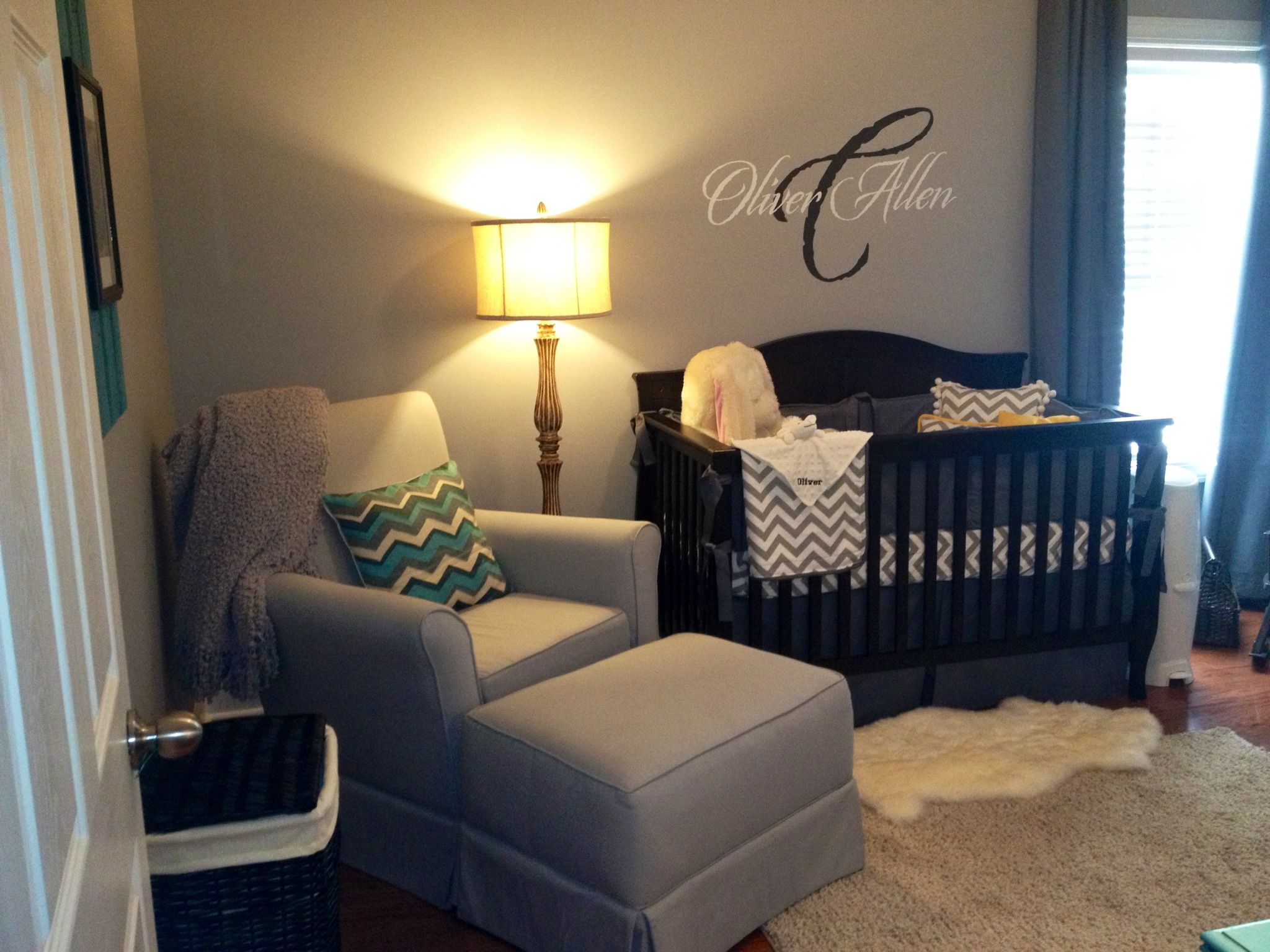 Grey Nursery With Teal Amp Yellow Accents Rustic Furniture