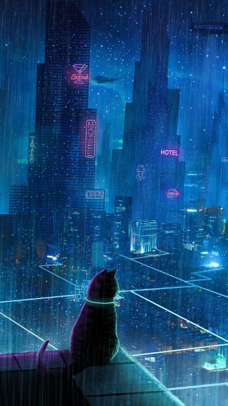 Cat Roof City Neon Lights Cyberpunk Wallpaper Rain Wallpapers Cyberpunk City Iphone Wallpaper Japan