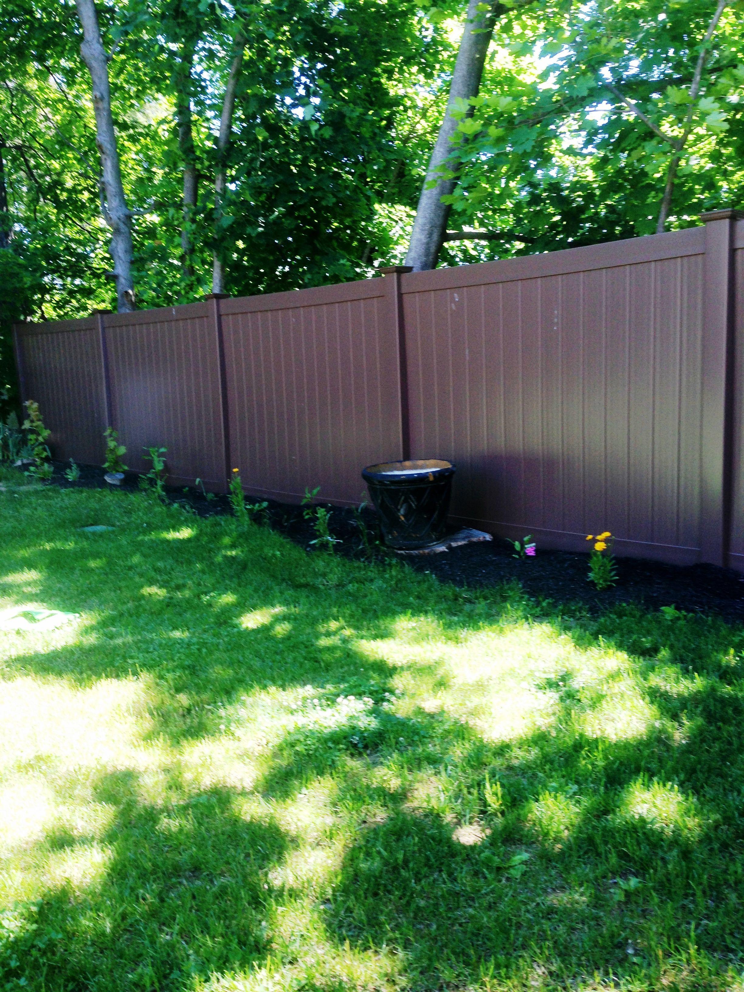 Solid Brown Vinyl Privacy Fence Backyard Upgrades Vinyl Fence Budget Patio