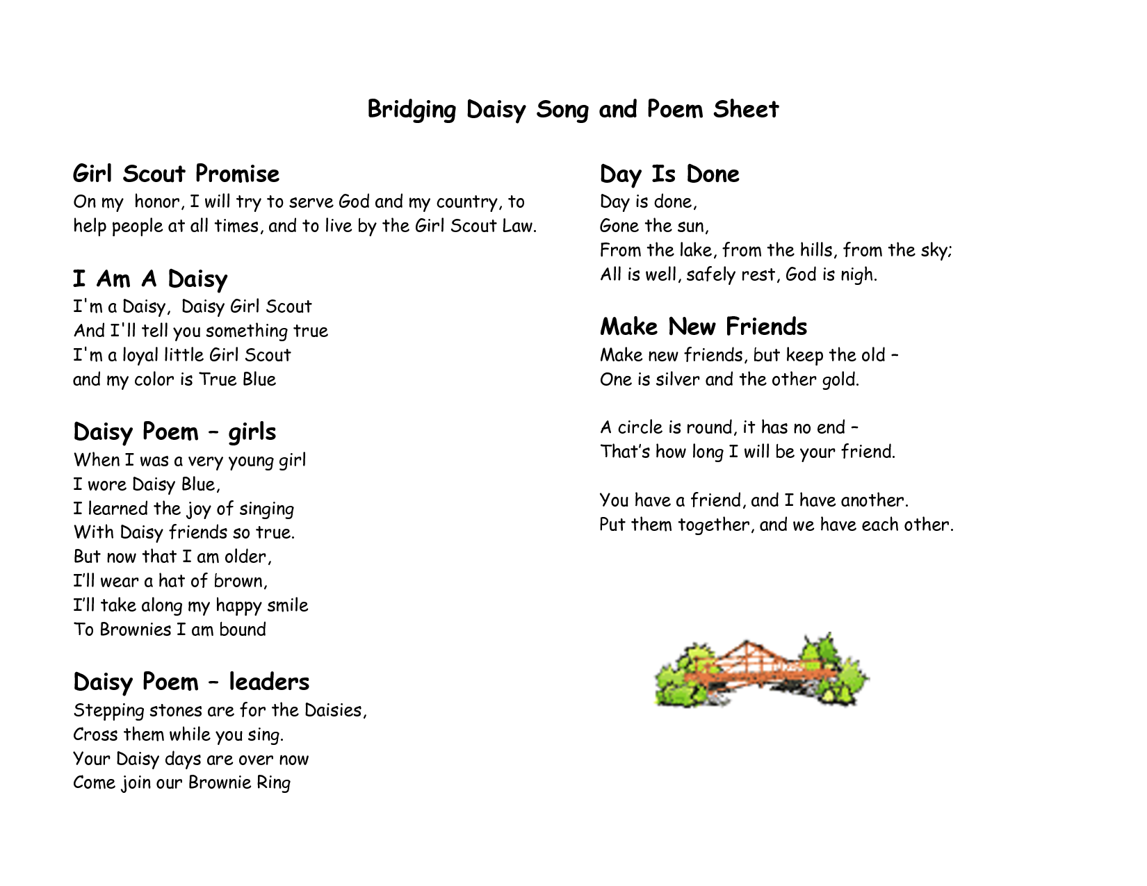 Girl Scout Brownies Meeting Template Bridging Brownie Song And