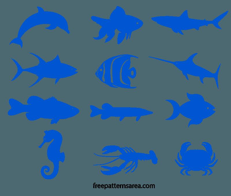 Fish Silhouette Vectors Printable Templates Fish Silhouette Fishing Svg Cricut Animals