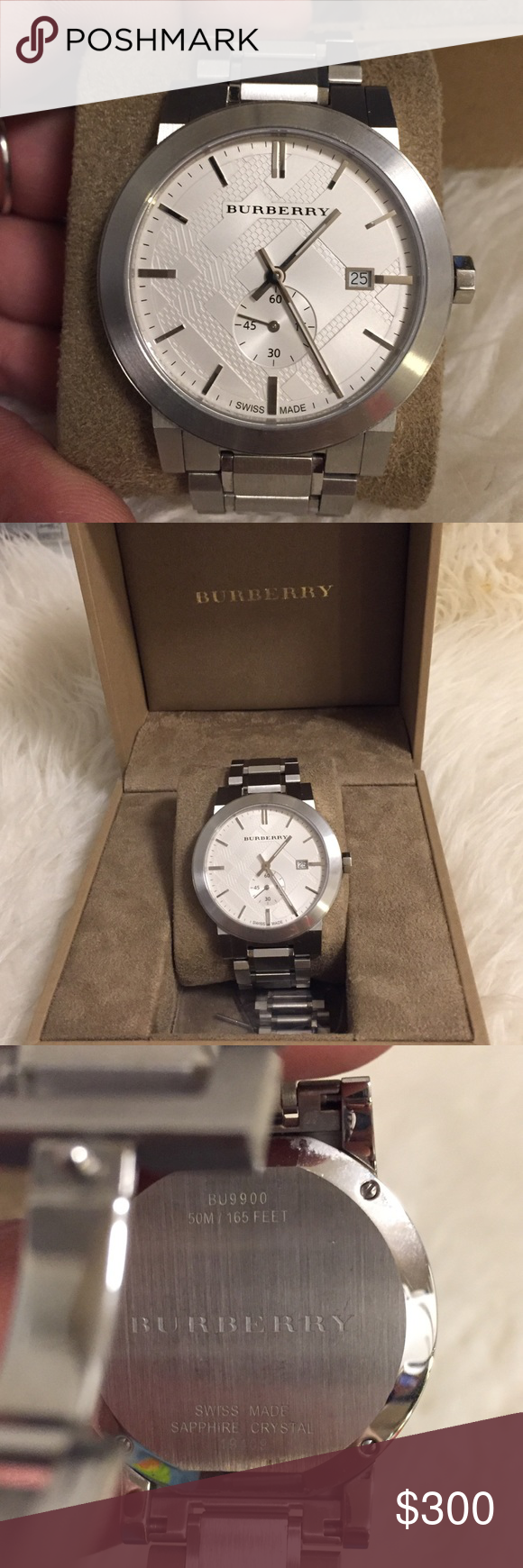 d58653c1829 ⏱Men's Burberry watch ⏱ BU9900 42mm men's swiss stainless steal Burberry  bracelet watch. Water resistant to 50 meters. Comes with extra links and  was ...